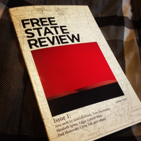My copy of FREE STATE REVIEW on my wonderful Walmart bedspread